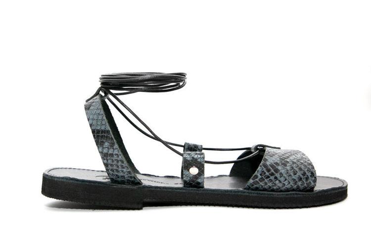 Δερμάτινα flat σανδάλια lace up slides