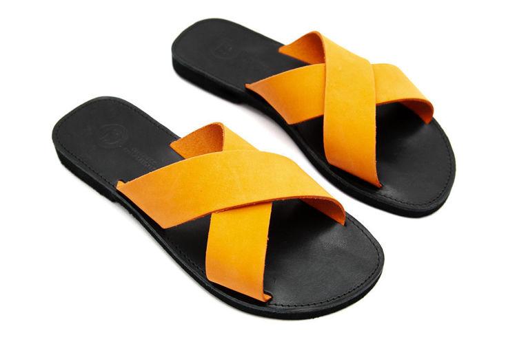 Δερμάτινα flat σανδάλια χιαστί πορτοκαλί