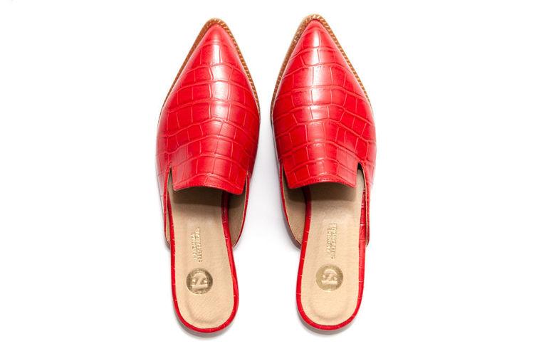 Γυναικεία mules flat κόκκινα με croco pattern