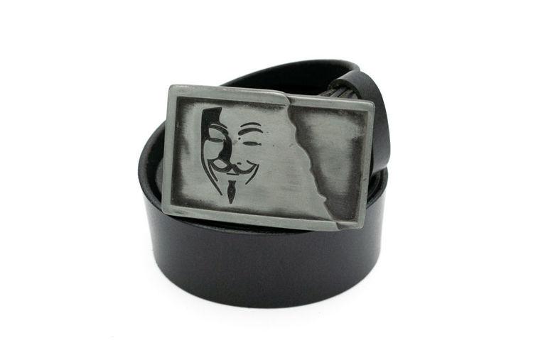 Δερμάτινη αντρική ζώνη ''Anonymous'' μαύρη