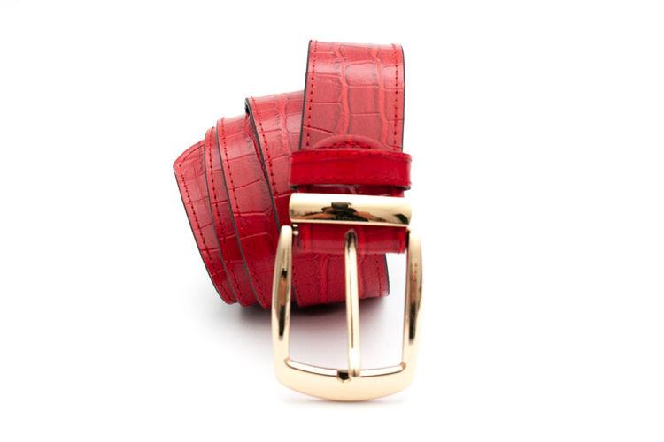 Γυναικεία ζώνη ''Karen'' κόκκινη με croco pattern