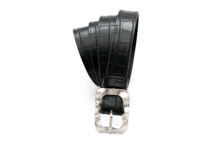 Γυναικεία ζώνη ''Alina'' μαύρη με croco pattern
