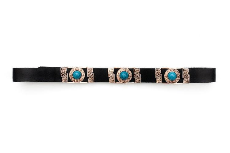 Δερμάτινη γυναικεία ζώνη ''Blue Pearl'' μαύρη