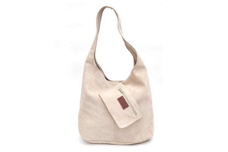 Δερμάτινη γυναικεία τσάντα ώμου μπεζ